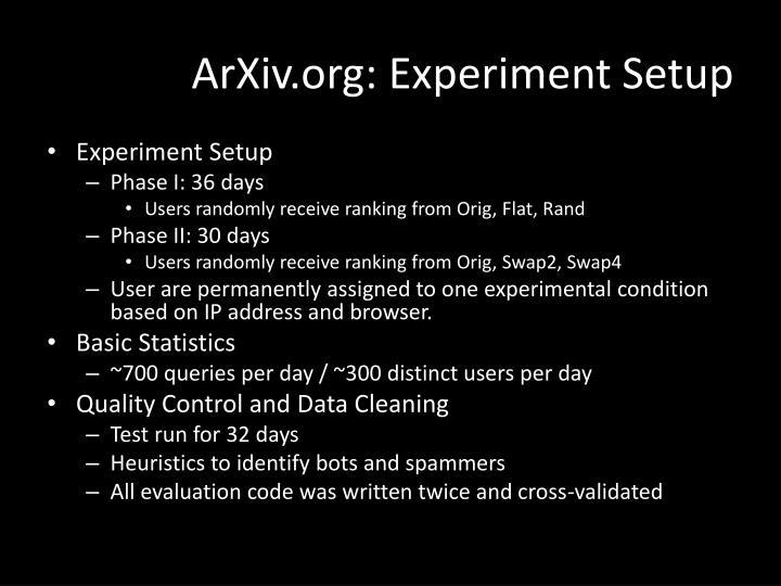 ArXiv.org: Experiment Setup