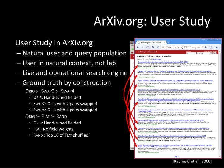 ArXiv.org: User Study