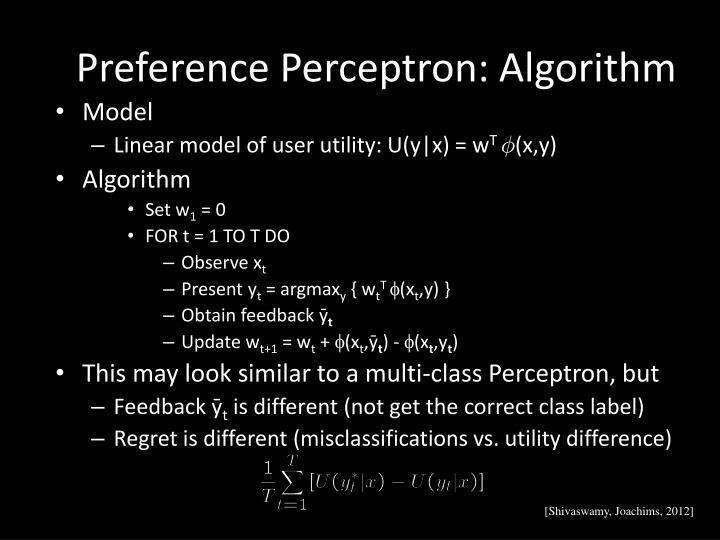 Preference Perceptron: Algorithm