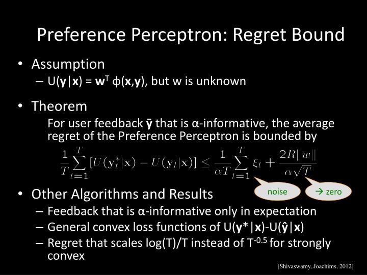 Preference Perceptron: Regret Bound