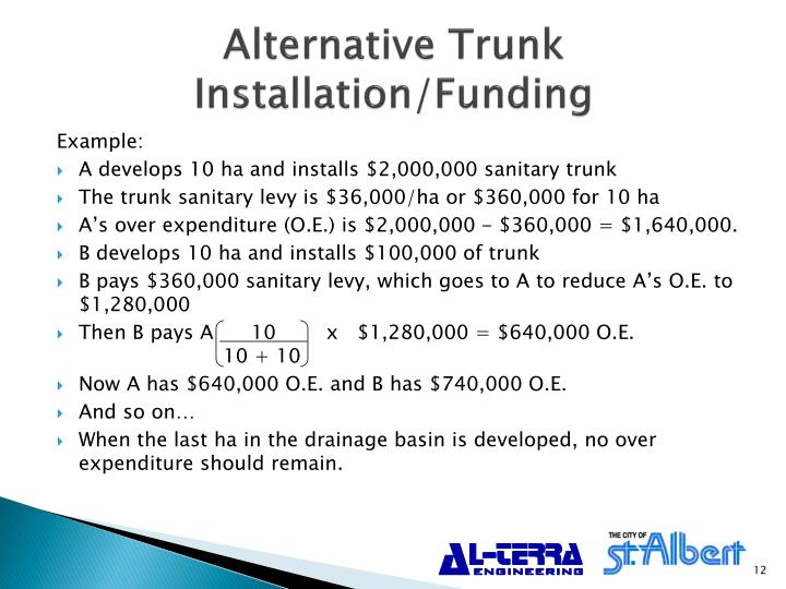 Alternative Trunk Installation/Funding