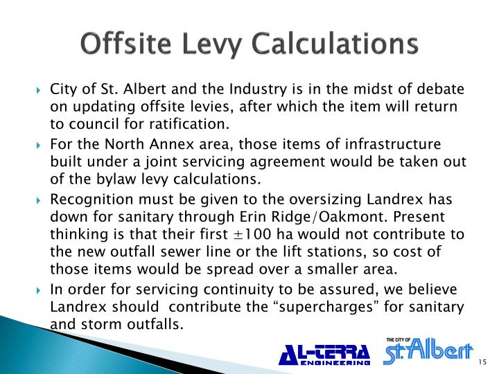 Offsite Levy Calculations