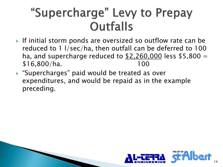 """""""Supercharge"""" Levy to Prepay Outfalls"""