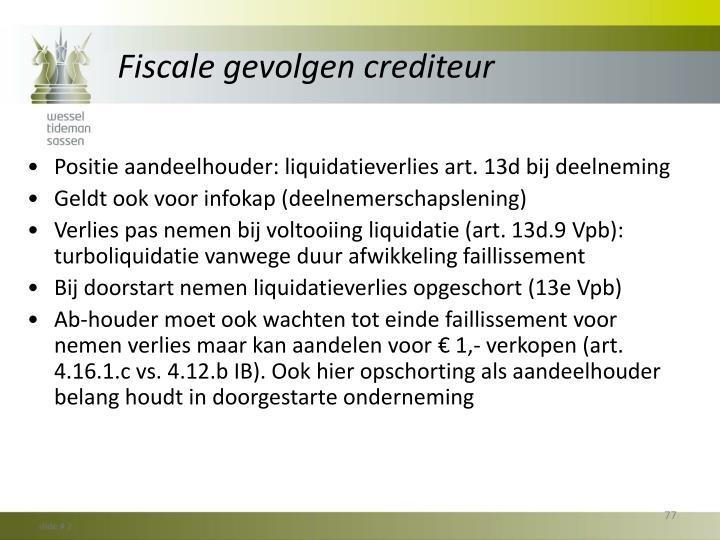 Fiscale gevolgen crediteur