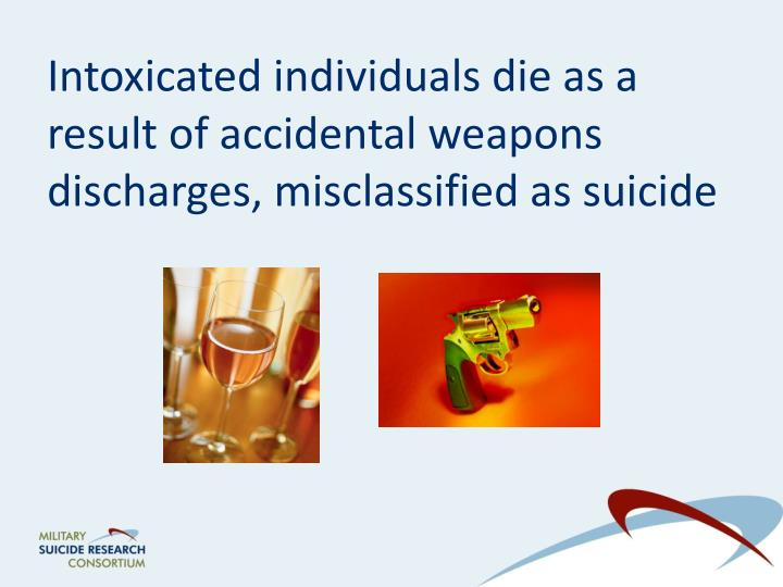 Intoxicated individuals die as a result of accidental weapons discharges, misclassified as suicide