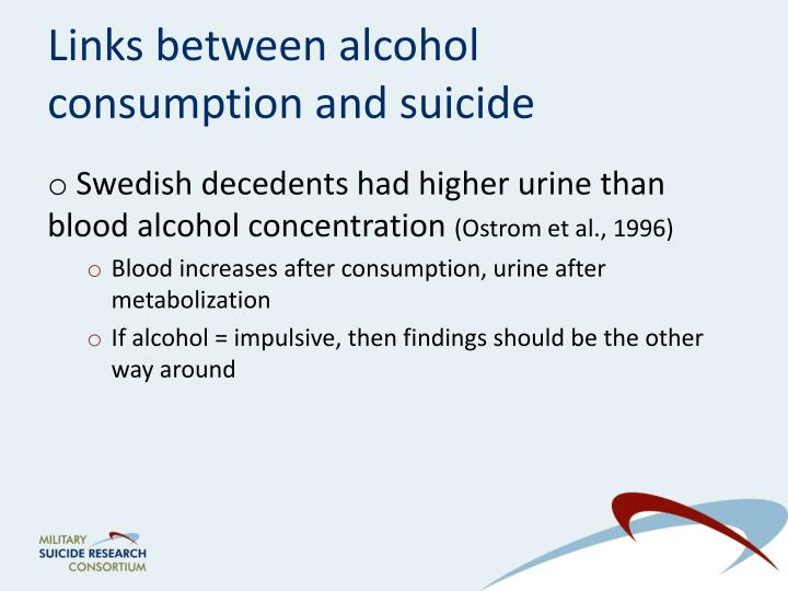 Links between alcohol consumption and suicide