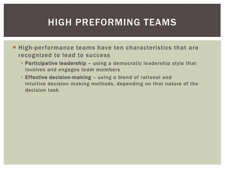High Preforming Teams