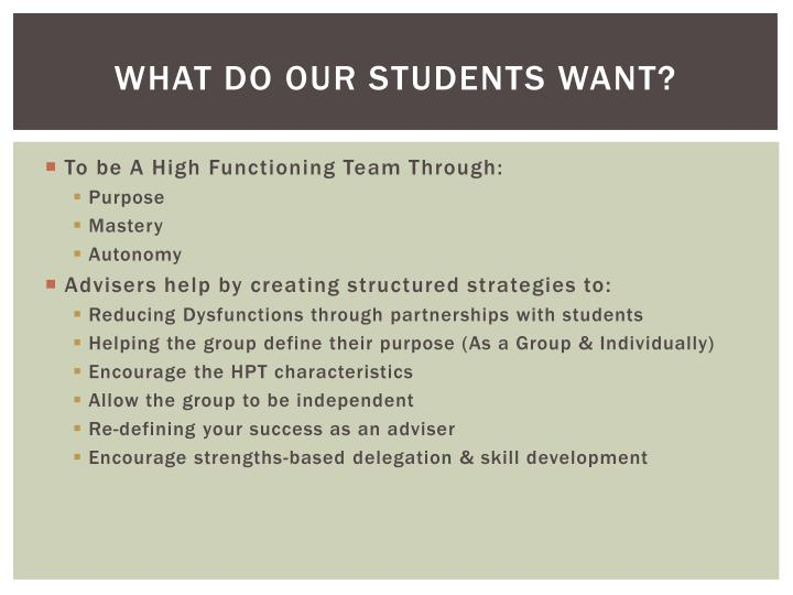 What Do our students Want?