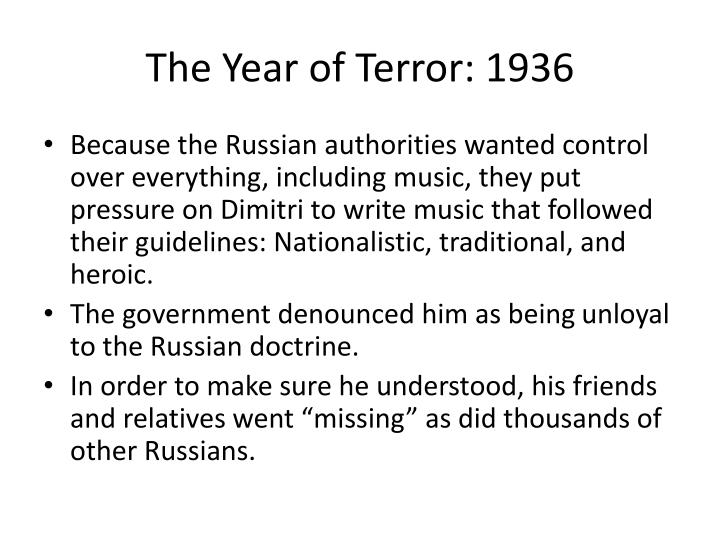 The Year of Terror: 1936