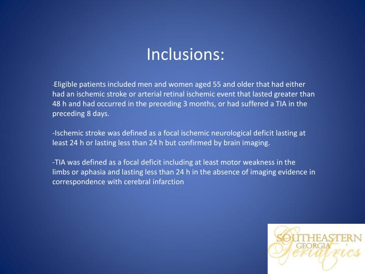 Inclusions: