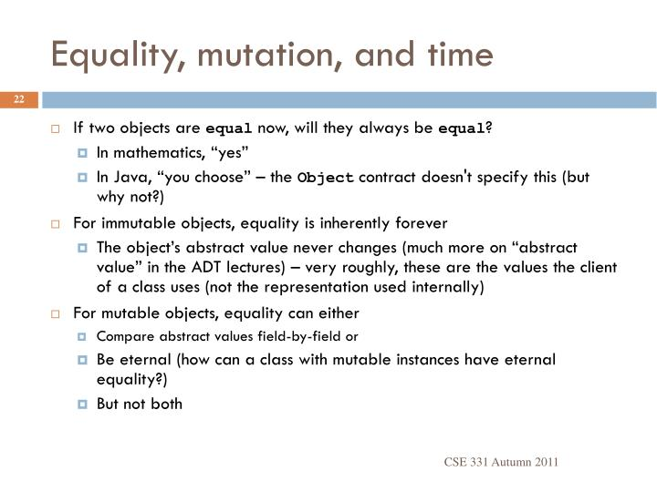 Equality, mutation, and time