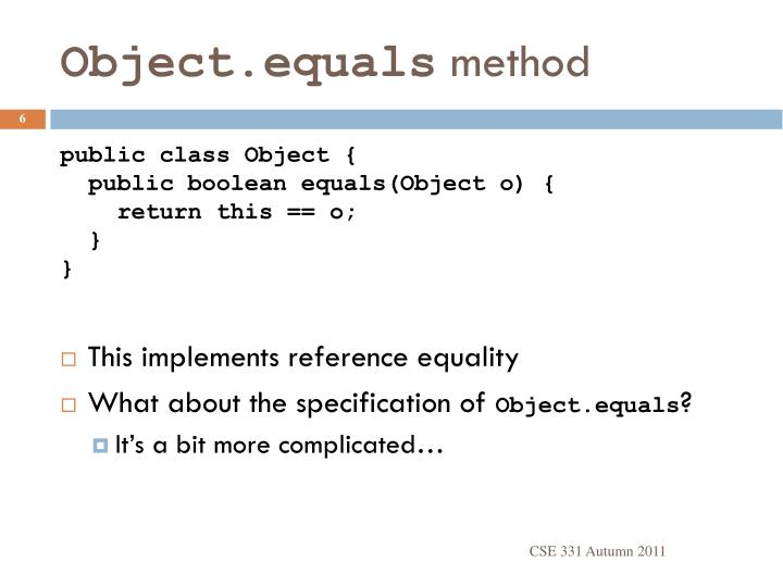 Object.equals