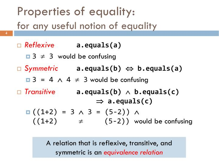 Properties of equality: