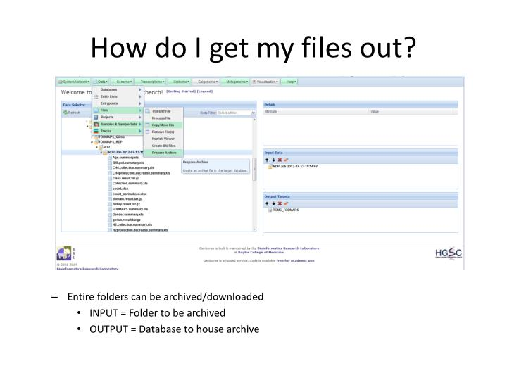 How do I get my files out?