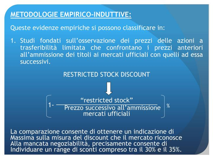 METODOLOGIE EMPIRICO-INDUTTIVE: