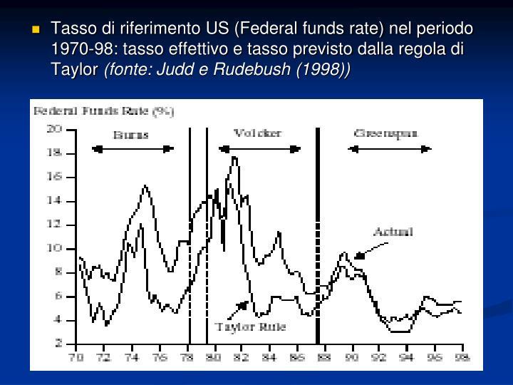 Tasso di riferimento US (Federal funds rate) nel periodo 1970-98: tasso effettivo e tasso previsto dalla regola di Taylor