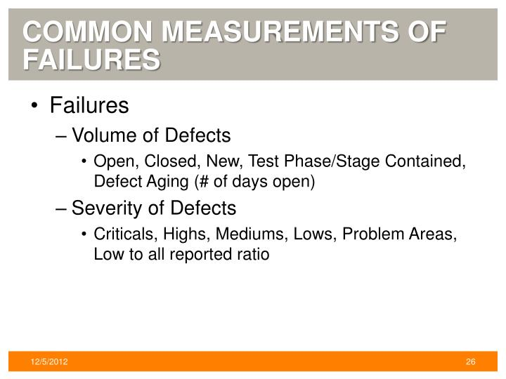 Common Measurements of Failures