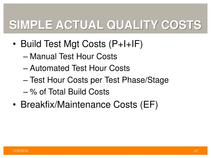Simple Actual quality Costs