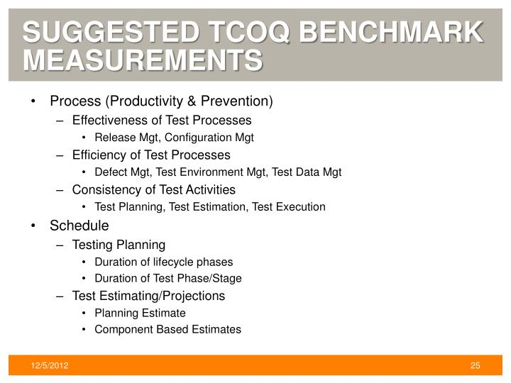 Suggested TCoQ Benchmark Measurements