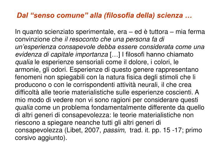 """Dal """"senso comune"""" alla (filosofia della) scienza …"""