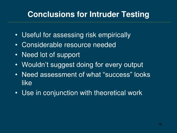 Conclusions for Intruder Testing