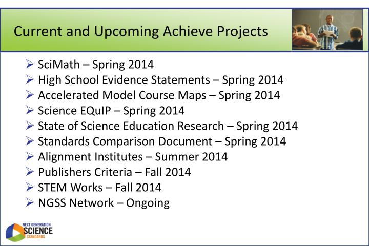 Current and Upcoming Achieve Projects