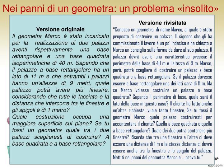 Nei panni di un geometra: un problema «insolito»