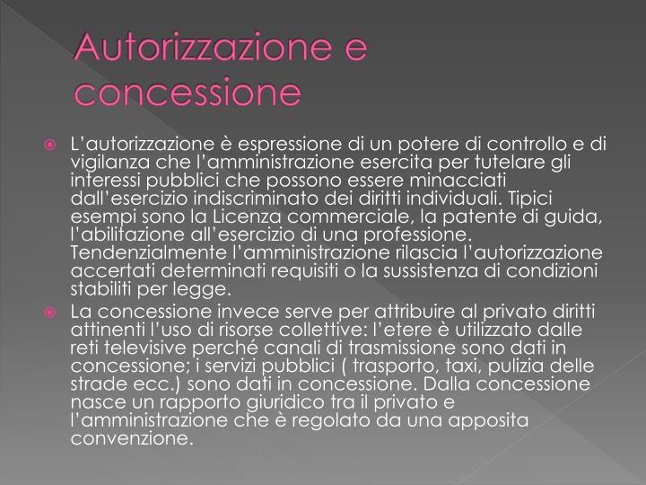 Autorizzazione e concessione