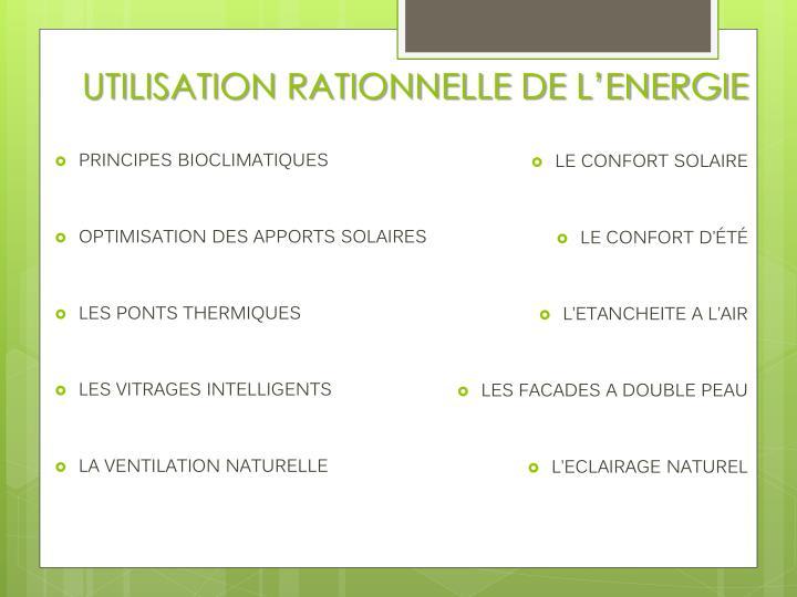 UTILISATION RATIONNELLE DE L'ENERGIE