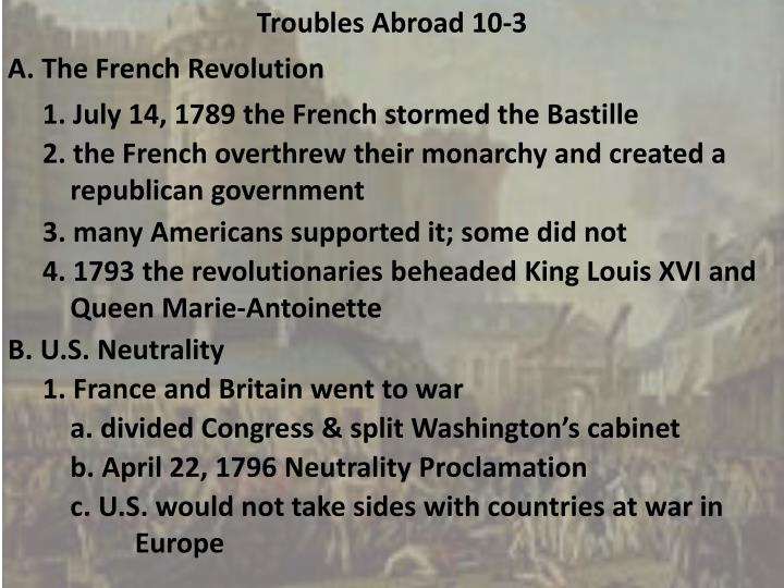 Troubles Abroad 10-3