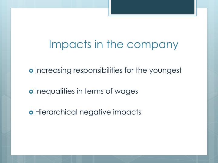 Impacts in the company