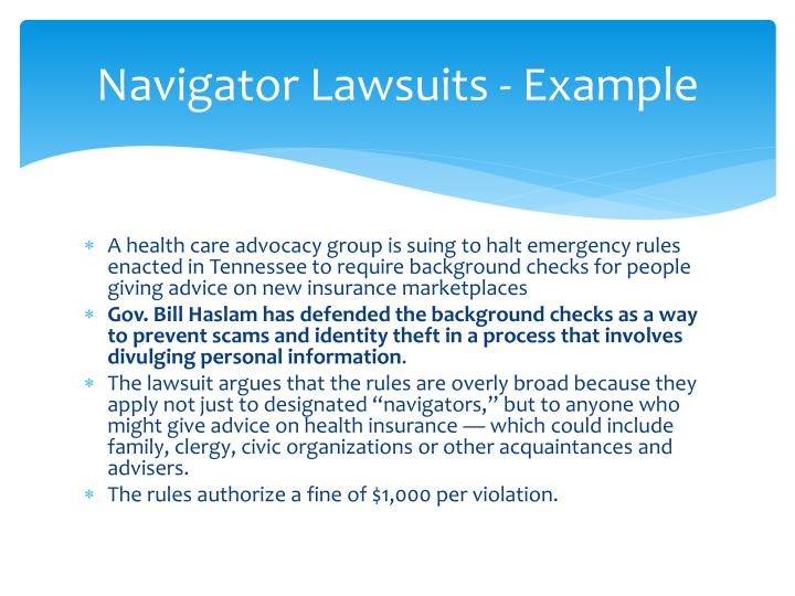 Navigator Lawsuits - Example