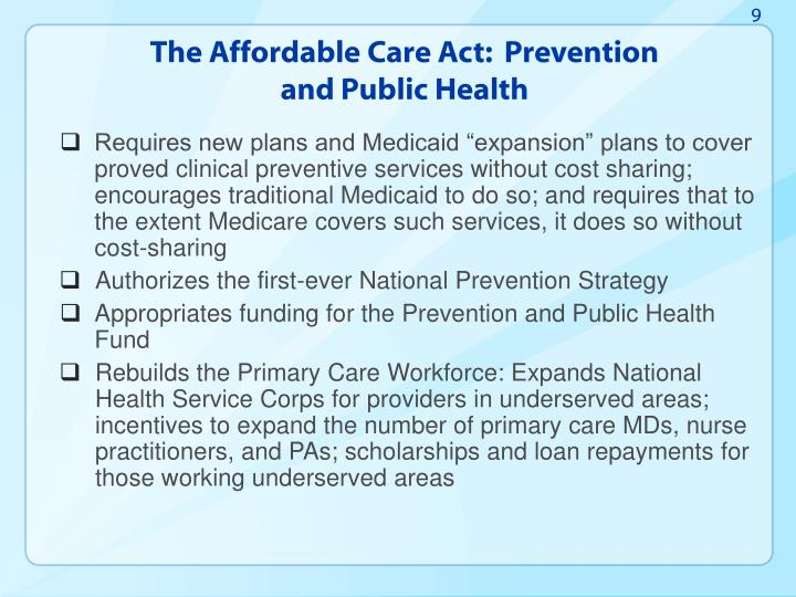 The Affordable Care Act:  Prevention