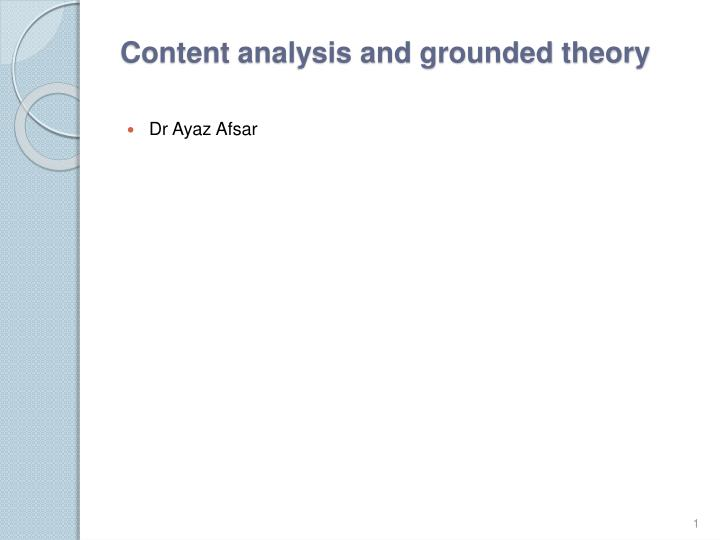 Content analysis and grounded theory
