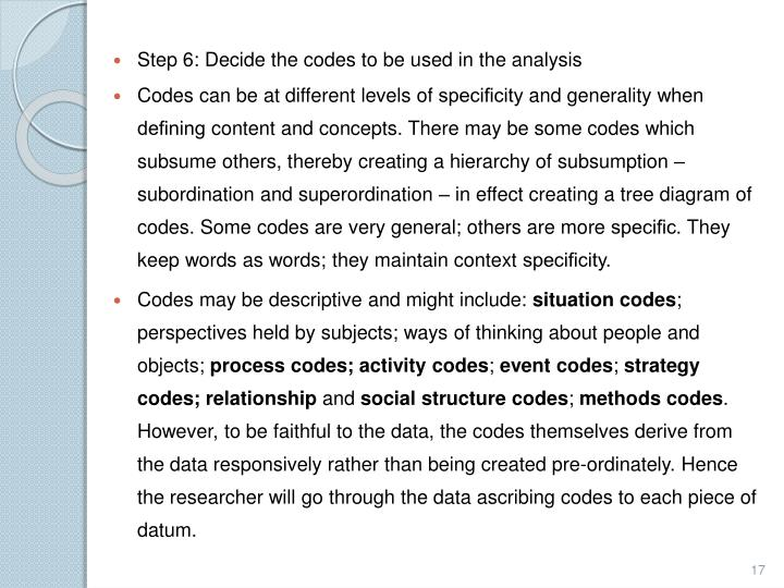 Step 6: Decide the codes to be used in the analysis