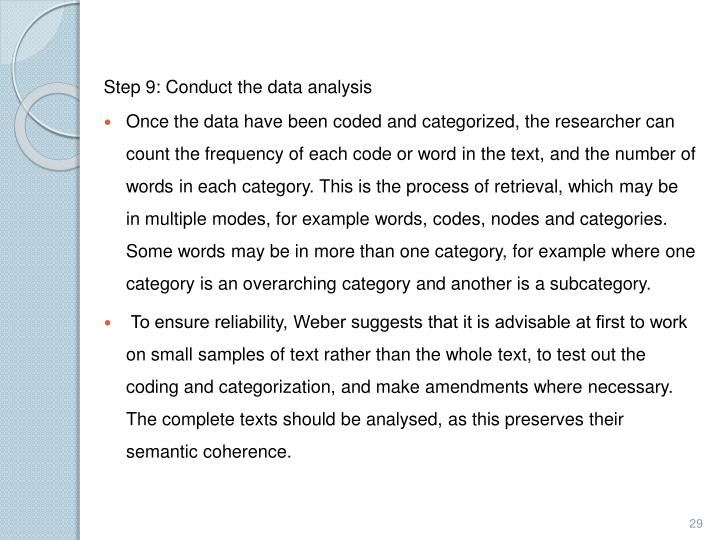 Step 9: Conduct the data analysis