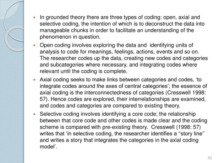 In grounded theory there are three types of coding: open, axial and selective coding, the intention of which is to deconstruct the data into manageable chunks in order to facilitate an understanding of the phenomenon in question.
