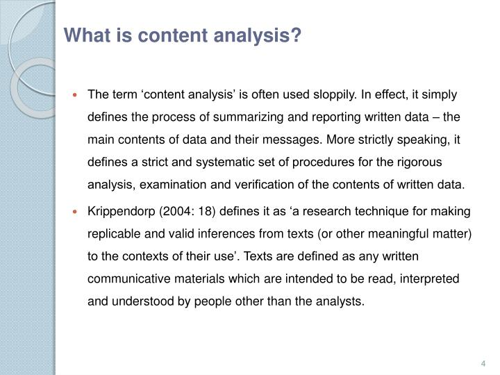 What is content analysis?