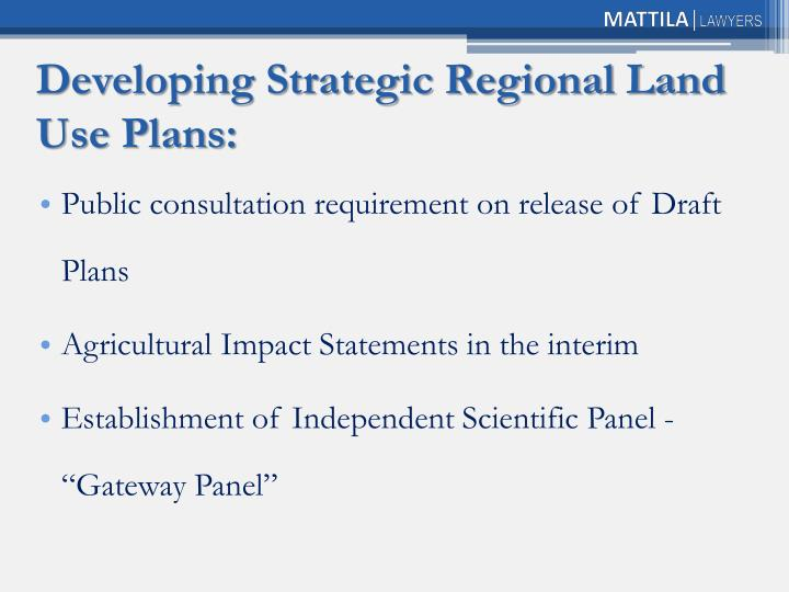 Developing Strategic Regional Land Use Plans: