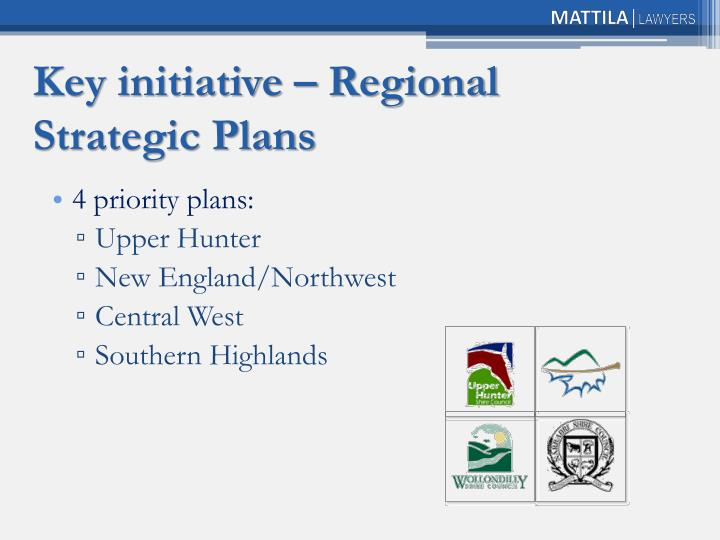 Key initiative – Regional Strategic Plans