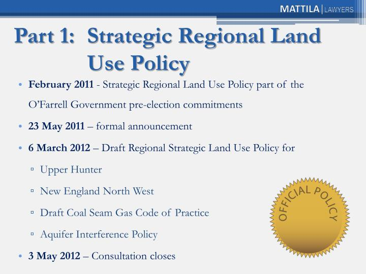 Part 1 strategic regional land use policy