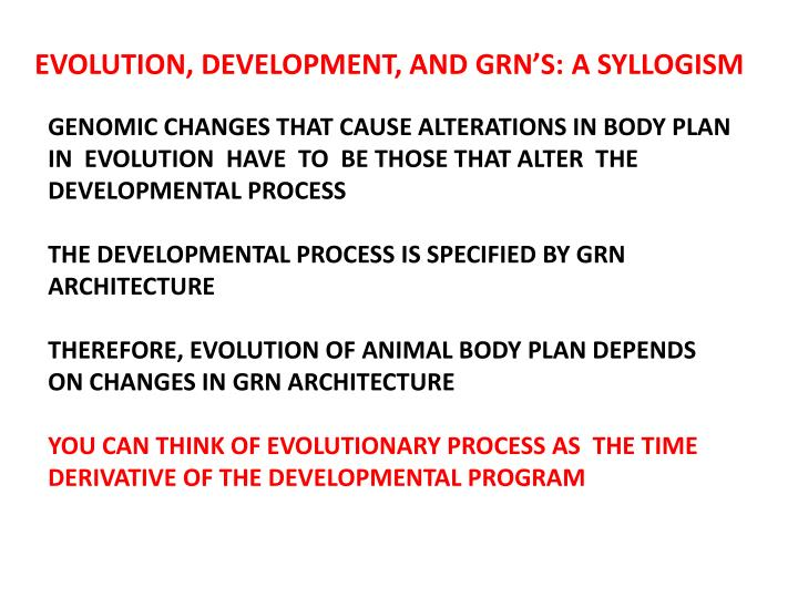 EVOLUTION, DEVELOPMENT, AND GRN'S: A SYLLOGISM