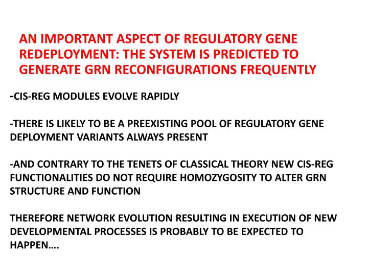 AN IMPORTANT ASPECT OF REGULATORY GENE REDEPLOYMENT: THE SYSTEM IS PREDICTED TO GENERATE GRN RECONFIGURATIONS FREQUENTLY