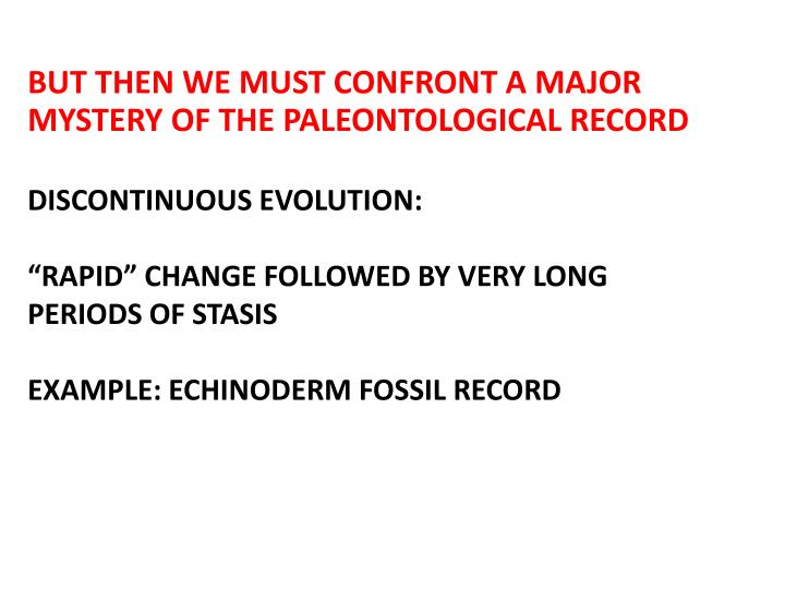 BUT THEN WE MUST CONFRONT A MAJOR MYSTERY OF THE PALEONTOLOGICAL RECORD