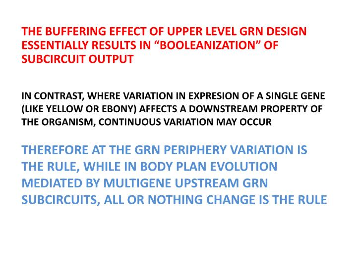 THE BUFFERING EFFECT OF UPPER LEVEL GRN DESIGN