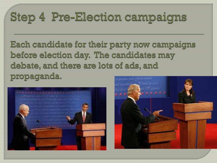 Step 4  Pre-Election campaigns