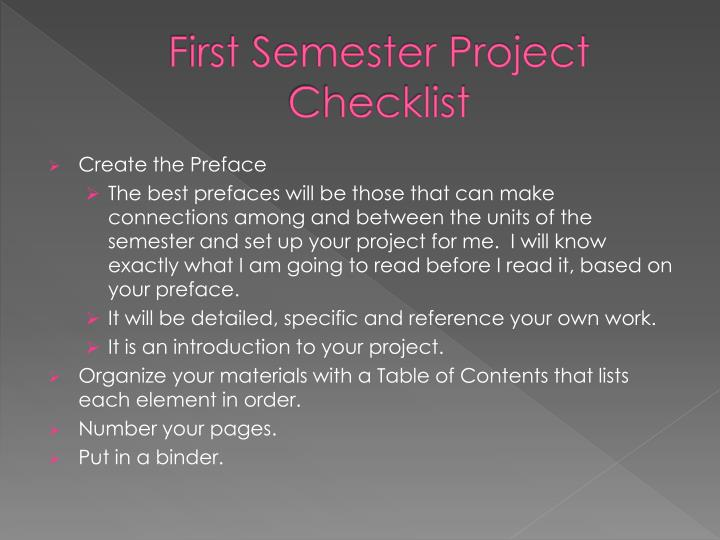 First Semester Project Checklist