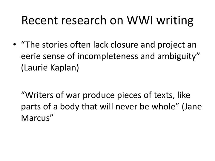 Recent research on WWI writing