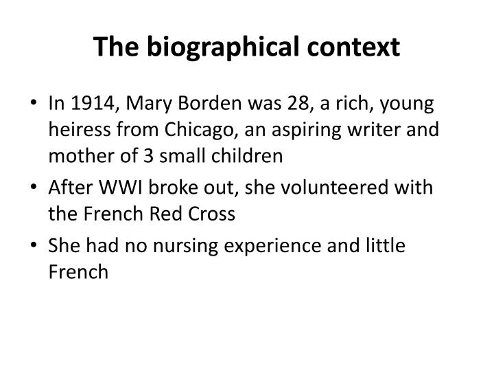 The biographical context