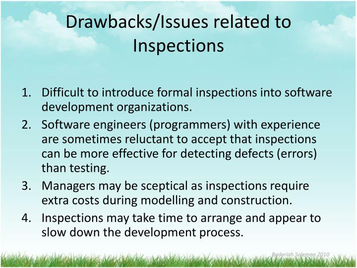 Drawbacks/Issues related to Inspections